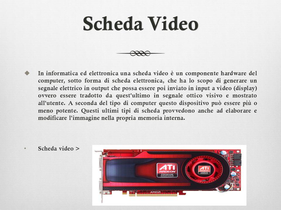 Tipologie e architetture della scheda video Una tipica scheda video contiene un integrato grafico (o più di uno) che gestisce una certa quantità di RAM dedicata a memorizzare i dati grafici da visualizzare e che risiede fisicamente sulla scheda stessa.Il funzionamento di una scheda video è, in linea di massima, molto semplice: ogni locazione di RAM grafica contiene il colore di un pixel dello schermo, o di un carattere se la scheda sta visualizzando solo testo; il chip grafico si limita a leggere in sequenza le locazioni necessarie e a pilotare un convertitore digitale- analogico che genera il segnale video che sarà visualizzato dal monitor.