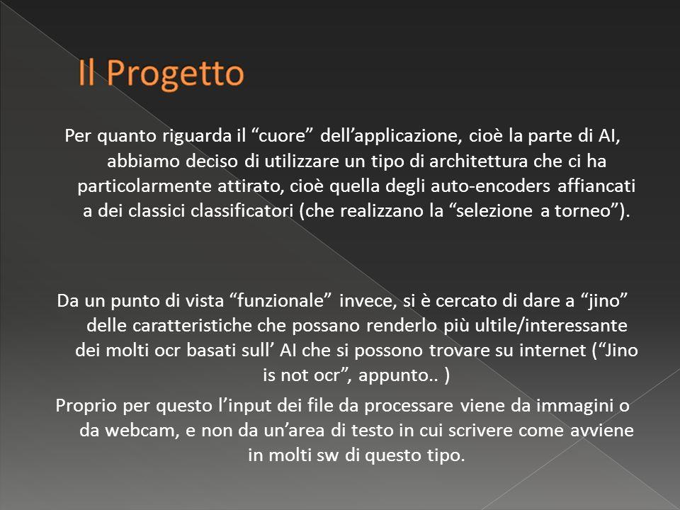 Utilizzo del linguaggio java [portabilità - esperienze personali] Librerie ausiliari: Joone [neural netowork management] JAI [Image Prepocessing] JMF [Webcam acquisition]