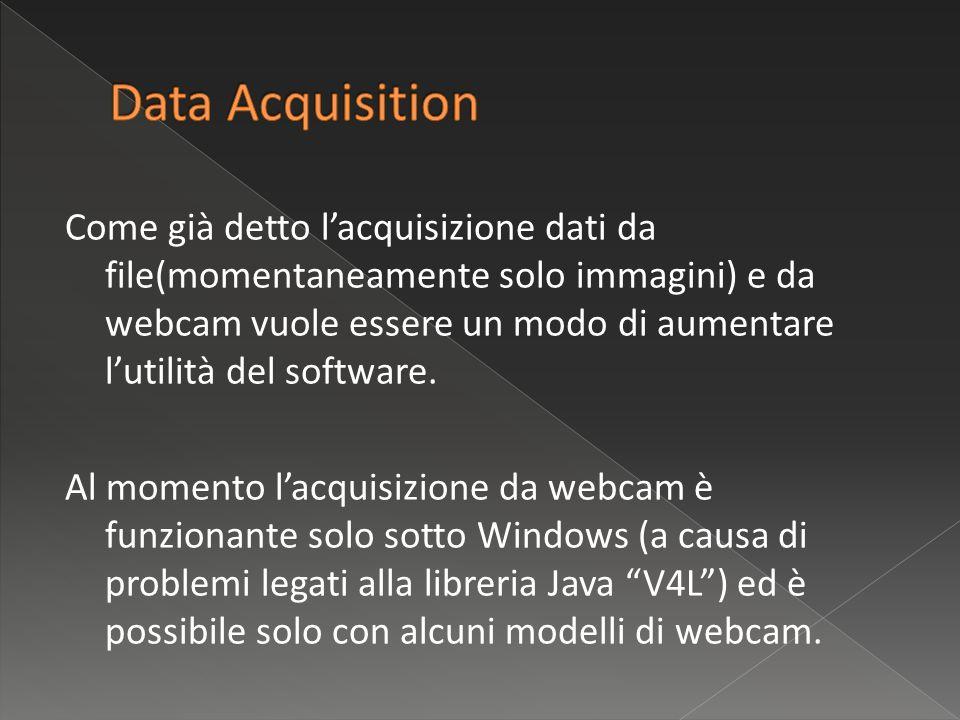 Come già detto lacquisizione dati da file(momentaneamente solo immagini) e da webcam vuole essere un modo di aumentare lutilità del software.