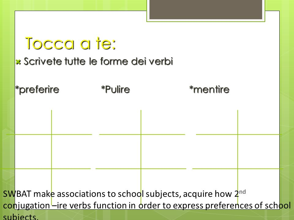 Tocca a te: Scrivete tutte le forme dei verbi Scrivete tutte le forme dei verbi *preferire*Pulire*mentire SWBAT make associations to school subjects, acquire how 2 nd conjugation –ire verbs function in order to express preferences of school subjects.