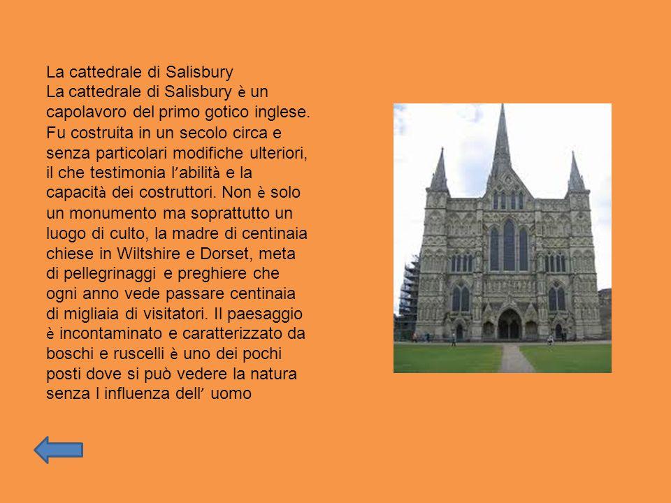La cattedrale di Salisbury La cattedrale di Salisbury è un capolavoro del primo gotico inglese. Fu costruita in un secolo circa e senza particolari mo