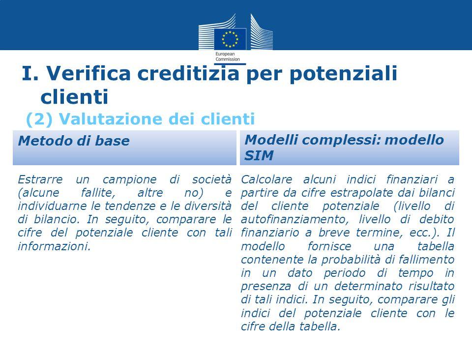 I. Verifica creditizia per potenziali clienti Metodo di base Estrarre un campione di società (alcune fallite, altre no) e individuarne le tendenze e l