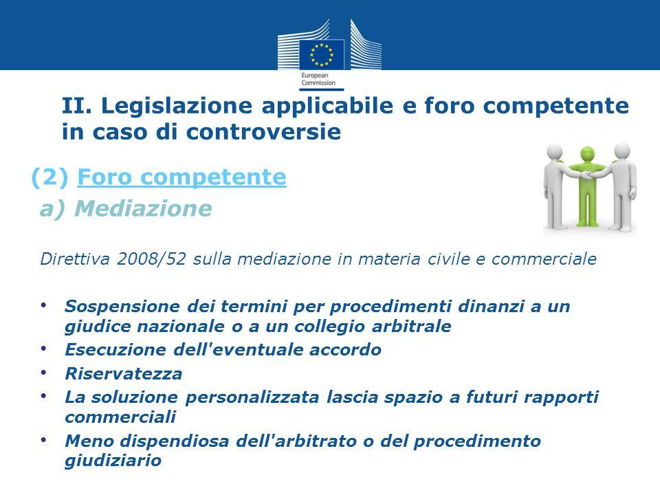 II. Legislazione applicabile e foro competente in caso di controversie a) Mediazione Direttiva 2008/52 sulla mediazione in materia civile e commercial