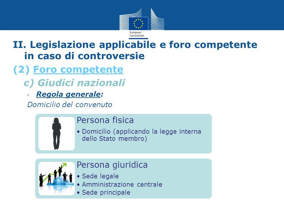 II. Legislazione applicabile e foro competente in caso di controversie c) Giudici nazionali Regola generale: Domicilio del convenuto Persona fisica Do