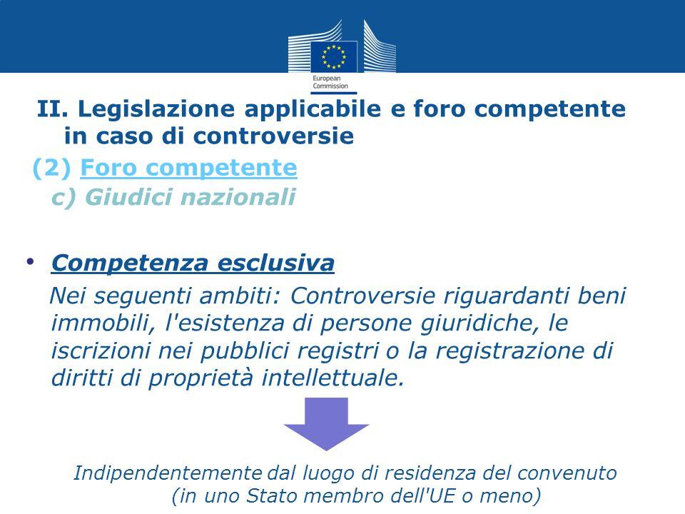 II. Legislazione applicabile e foro competente in caso di controversie c) Giudici nazionali Competenza esclusiva Nei seguenti ambiti: Controversie rig