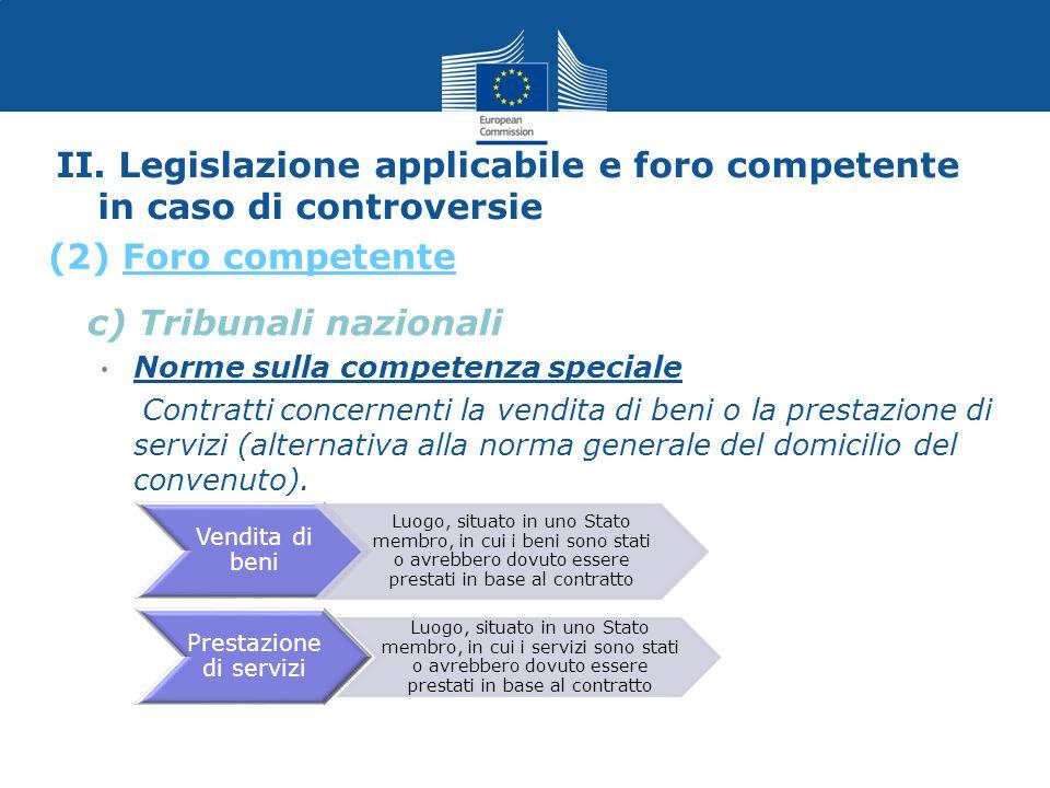 II. Legislazione applicabile e foro competente in caso di controversie c) Tribunali nazionali Norme sulla competenza speciale Contratti concernenti la