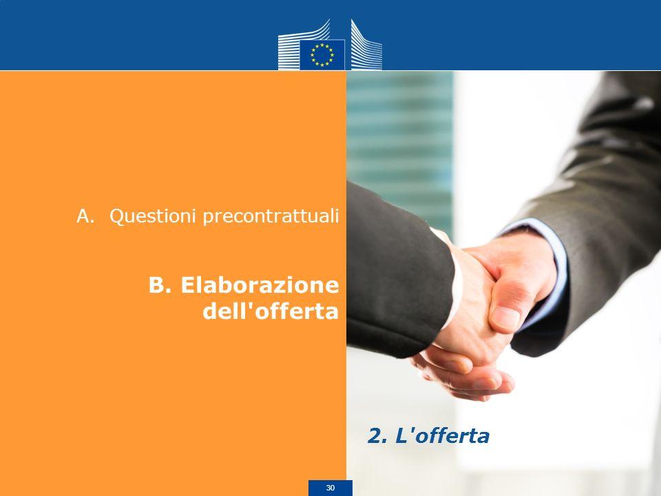 A.Questioni precontrattuali B. Elaborazione dell'offerta 2. L'offerta 30