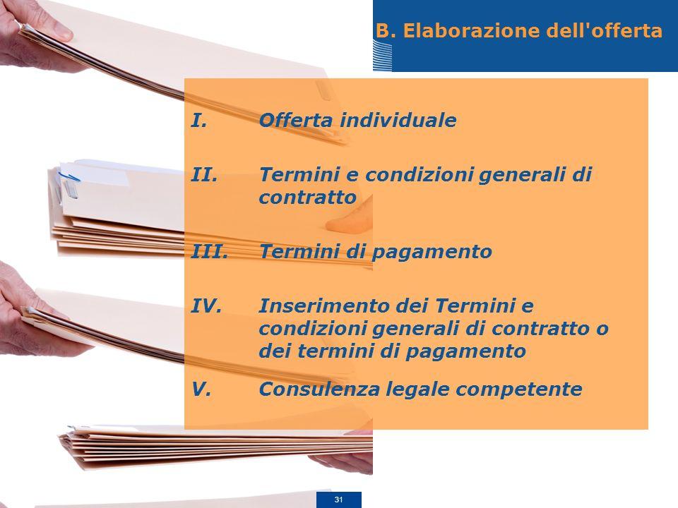 B. Elaborazione dell'offerta I.Offerta individuale II.Termini e condizioni generali di contratto III.Termini di pagamento IV.Inserimento dei Termini e