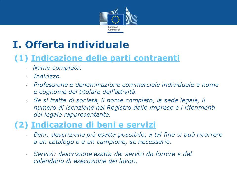 I. Offerta individuale (1) Indicazione delle parti contraenti Nome completo. Indirizzo. Professione e denominazione commerciale individuale e nome e c