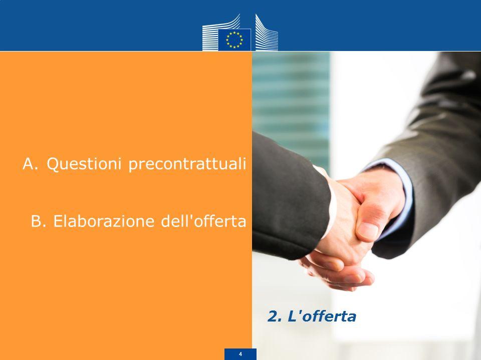 A.Questioni precontrattuali B. Elaborazione dell offerta 2. L offerta 5