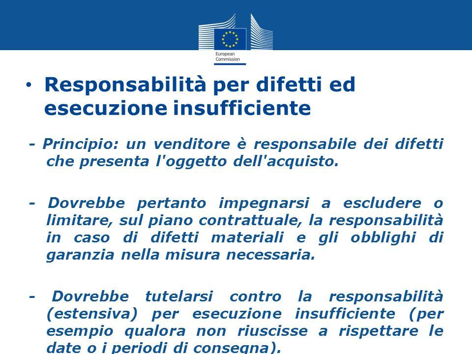 Responsabilità per difetti ed esecuzione insufficiente - Principio: un venditore è responsabile dei difetti che presenta l'oggetto dell'acquisto. - Do