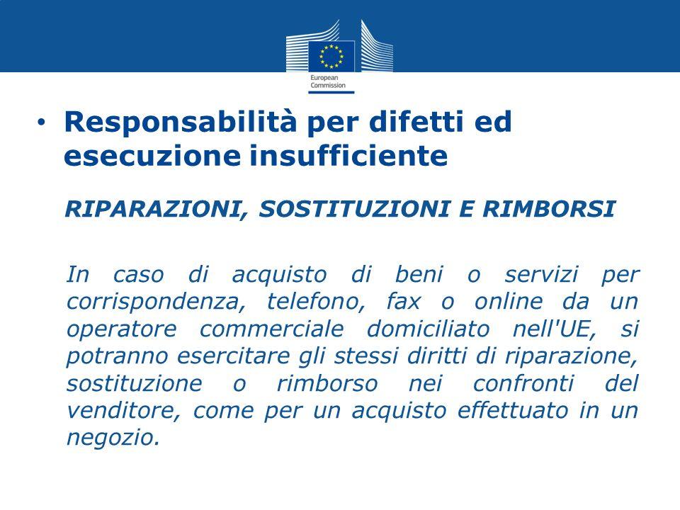 Responsabilità per difetti ed esecuzione insufficiente RIPARAZIONI, SOSTITUZIONI E RIMBORSI In caso di acquisto di beni o servizi per corrispondenza,
