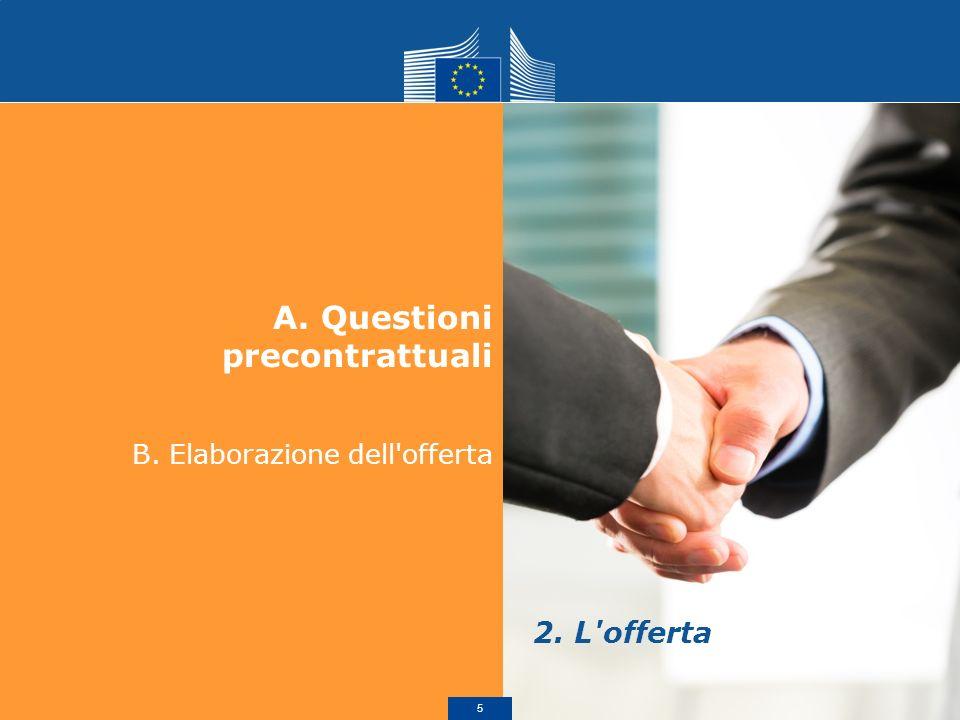 A.Questioni precontrattuali B. Elaborazione dell'offerta 2. L'offerta 5