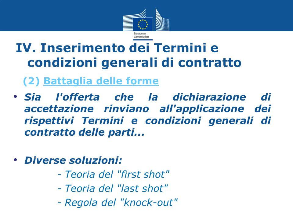 IV. Inserimento dei Termini e condizioni generali di contratto Sia l'offerta che la dichiarazione di accettazione rinviano all'applicazione dei rispet