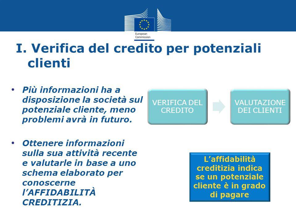 I. Verifica del credito per potenziali clienti Più informazioni ha a disposizione la società sul potenziale cliente, meno problemi avrà in futuro. Ott