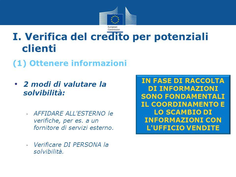I. Verifica del credito per potenziali clienti 2 modi di valutare la solvibilità: AFFIDARE ALL'ESTERNO le verifiche, per es. a un fornitore di servizi