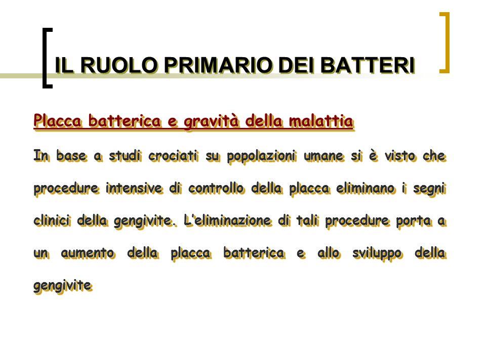 IL RUOLO PRIMARIO DEI BATTERI Efficacia degli antibiotici Sono stati utilizzati con successo nel trattamento di: -Parodontite giovanile localizzata -Parodontite delladulto -Parodontite refrattaria -Parodontite ricorrente -Parodontite necrotica -Fase acuta della GUNA Efficacia degli antibiotici Sono stati utilizzati con successo nel trattamento di: -Parodontite giovanile localizzata -Parodontite delladulto -Parodontite refrattaria -Parodontite ricorrente -Parodontite necrotica -Fase acuta della GUNA