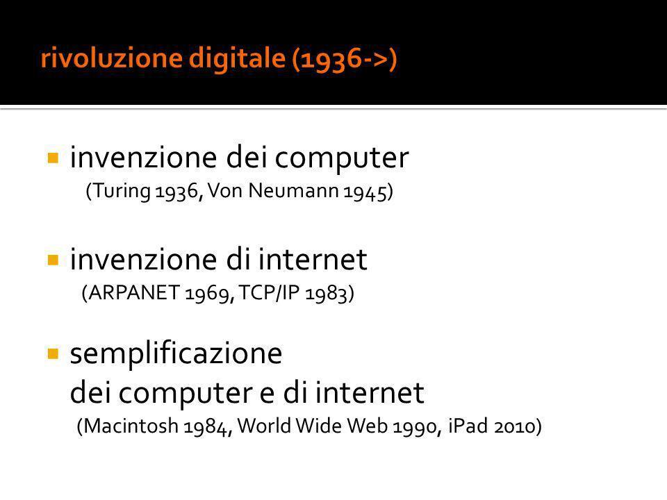 invenzione dei computer (Turing 1936, Von Neumann 1945) invenzione di internet (ARPANET 1969, TCP/IP 1983) semplificazione dei computer e di internet (Macintosh 1984, World Wide Web 1990, iPad 2010)