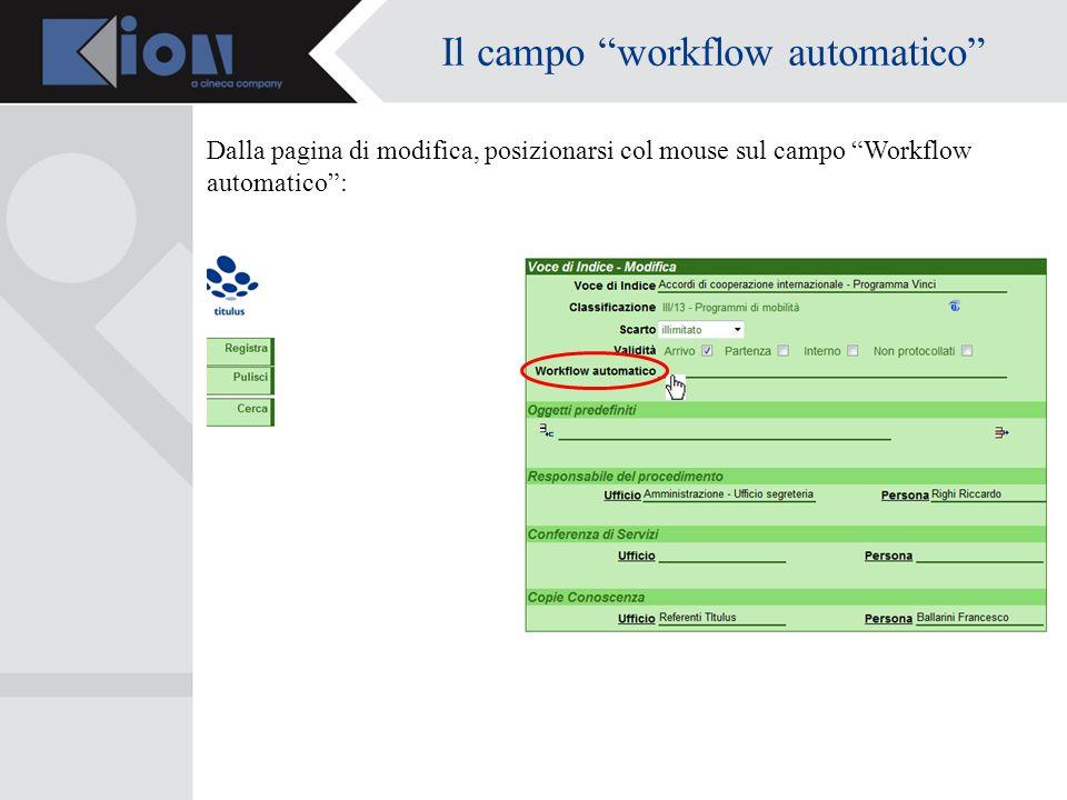 Il campo workflow automatico Dalla pagina di modifica, posizionarsi col mouse sul campo Workflow automatico: