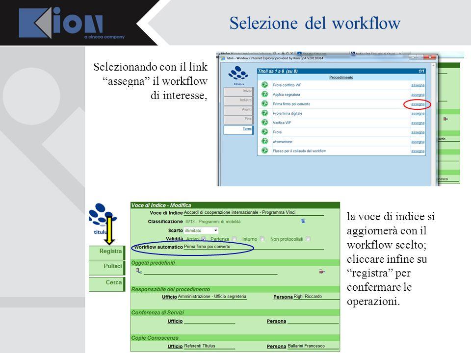 Selezione del workflow Selezionando con il link assegna il workflow di interesse, la voce di indice si aggiornerà con il workflow scelto; cliccare infine su registra per confermare le operazioni.