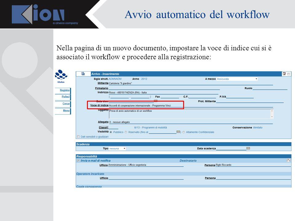 Avvio automatico del workflow Nella pagina di un nuovo documento, impostare la voce di indice cui si è associato il workflow e procedere alla registra