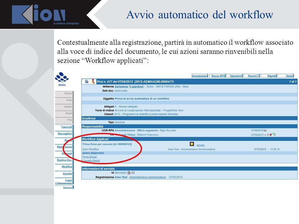 Avvio automatico del workflow Contestualmente alla registrazione, partirà in automatico il workflow associato alla voce di indice del documento, le cui azioni saranno rinvenibili nella sezione Workflow applicati: