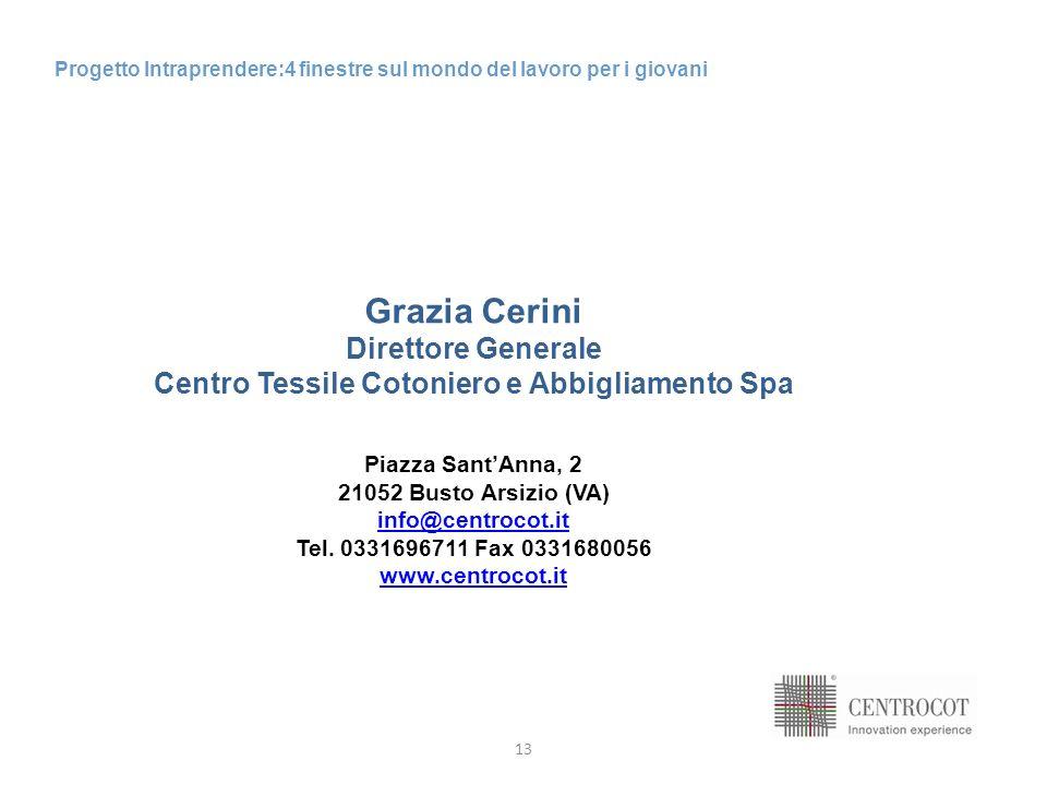 13 Progetto Intraprendere:4 finestre sul mondo del lavoro per i giovani Grazia Cerini Direttore Generale Centro Tessile Cotoniero e Abbigliamento Spa Piazza SantAnna, 2 21052 Busto Arsizio (VA) info@centrocot.it Tel.