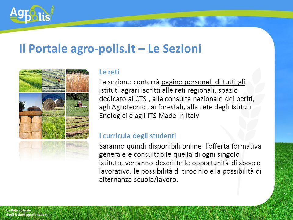 Il Portale agro-polis.it – Le Sezioni I progetti Sezione dedicata alla presentazione dei progetti sviluppati o in fase di sviluppo degli istituti, delle reti e dei soggetti partecipanti alliniziativa.
