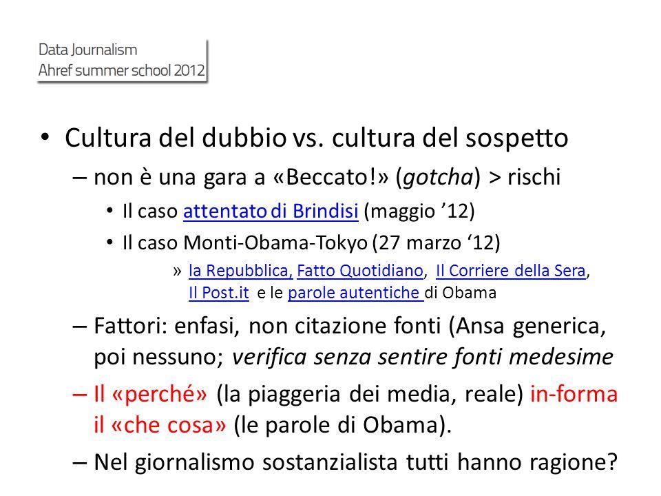 Cultura del dubbio vs. cultura del sospetto – non è una gara a «Beccato!» (gotcha) > rischi Il caso attentato di Brindisi (maggio 12)attentato di Brin