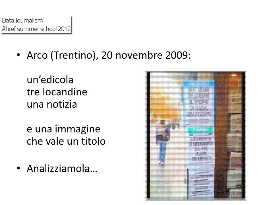 Arco (Trentino), 20 novembre 2009: unedicola tre locandine una notizia e una immagine che vale un titolo Analizziamola…