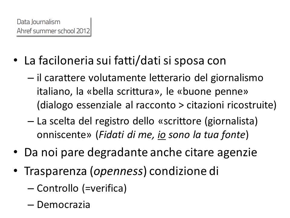 La faciloneria sui fatti/dati si sposa con – il carattere volutamente letterario del giornalismo italiano, la «bella scrittura», le «buone penne» (dia