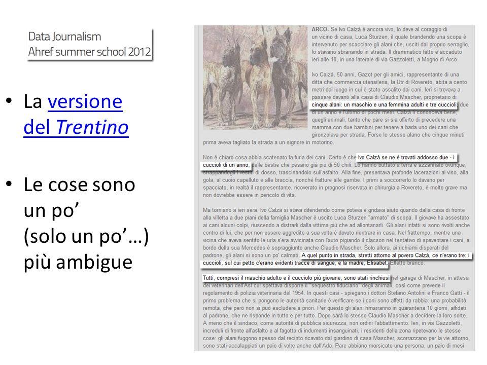 La versione del Trentinoversione del Trentino Le cose sono un po (solo un po…) più ambigue