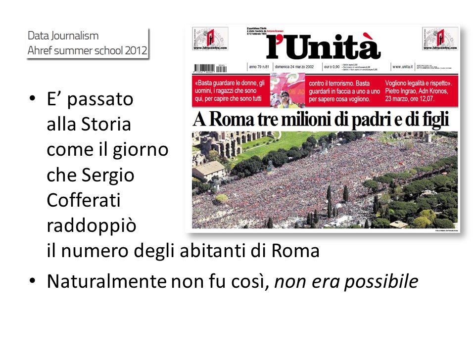 E passato alla Storia come il giorno che Sergio Cofferati raddoppiò il numero degli abitanti di Roma Naturalmente non fu così, non era possibile
