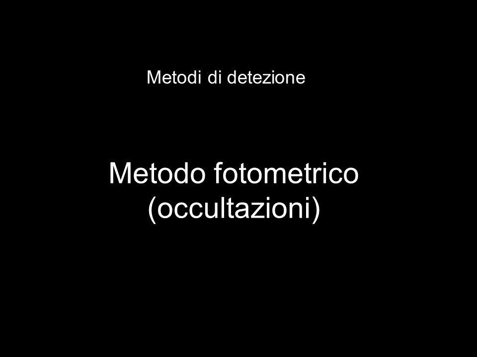 Metodo fotometrico (occultazioni) Metodi di detezione