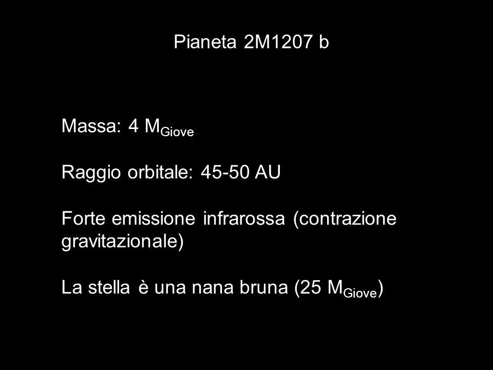 Pianeta 2M1207 b Massa: 4 M Giove Raggio orbitale: 45-50 AU Forte emissione infrarossa (contrazione gravitazionale) La stella è una nana bruna (25 M G
