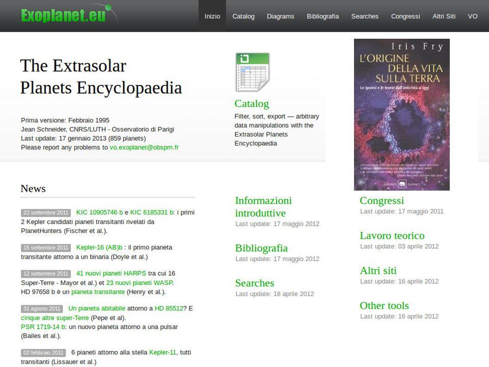 Bibliografia Wikipedia (inglese!) The Extrasolar Planet Encyclopedia ( exoplanet.eu ) Iris Fry, Lorigine della vita sulla Terra, Garzanti (2002, orig.