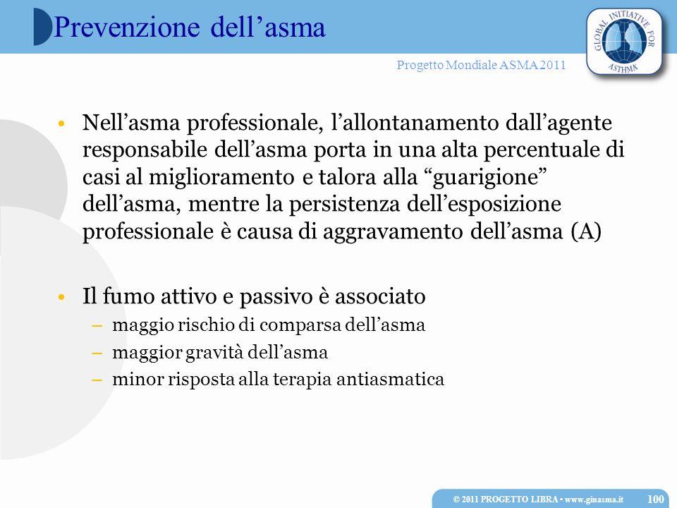 Progetto Mondiale ASMA 2011 Prevenzione dellasma Nellasma professionale, lallontanamento dallagente responsabile dellasma porta in una alta percentual