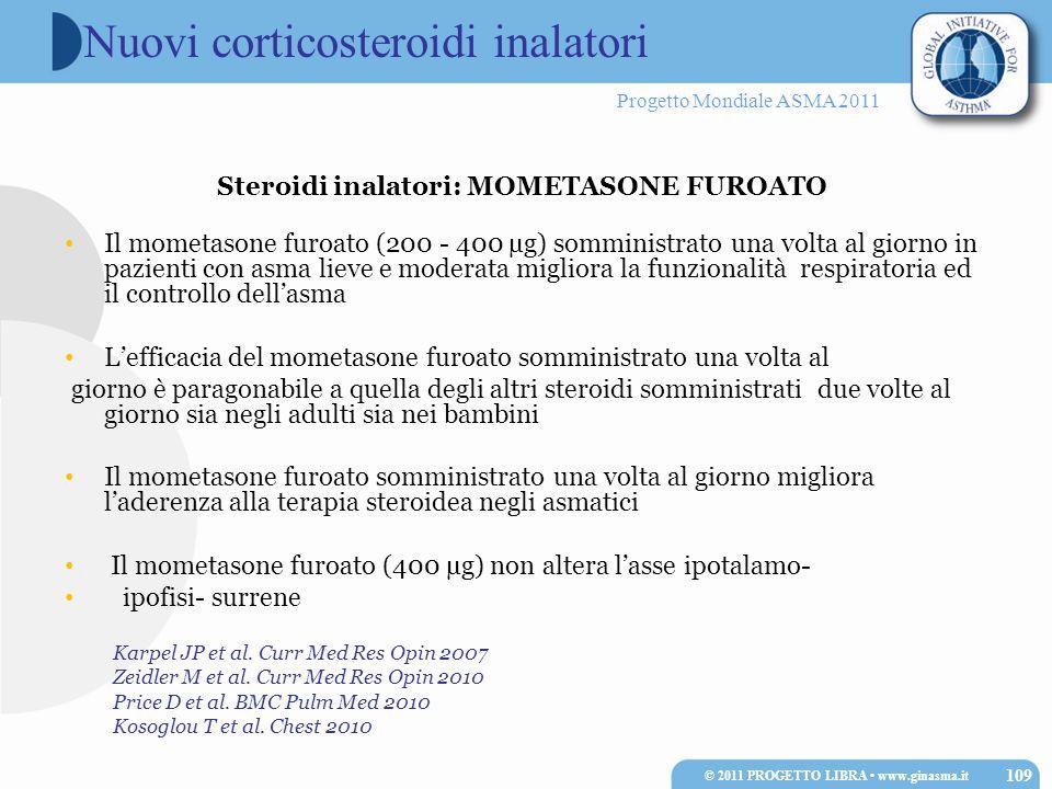 Progetto Mondiale ASMA 2011 Karpel JP et al. Curr Med Res Opin 2007 Zeidler M et al. Curr Med Res Opin 2010 Price D et al. BMC Pulm Med 2010 Kosoglou