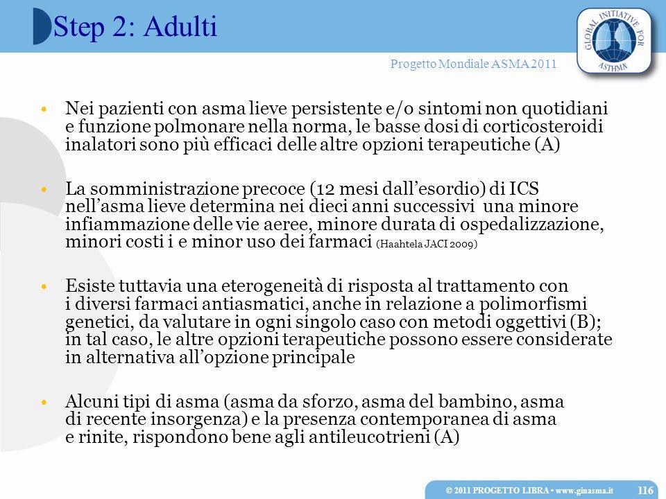 Progetto Mondiale ASMA 2011 Step 2: Adulti Nei pazienti con asma lieve persistente e/o sintomi non quotidiani e funzione polmonare nella norma, le bas