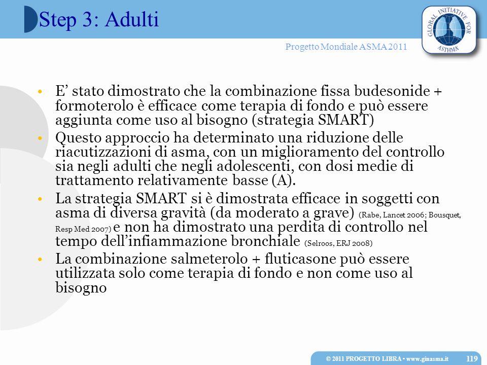 Progetto Mondiale ASMA 2011 Step 3: Adulti E stato dimostrato che la combinazione fissa budesonide + formoterolo è efficace come terapia di fondo e pu
