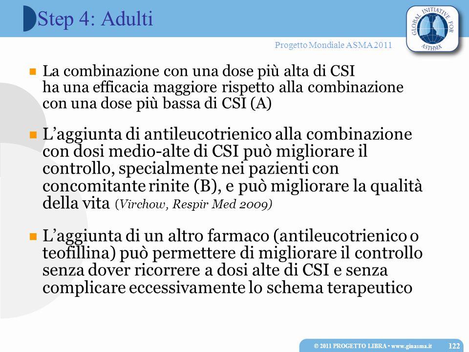 Progetto Mondiale ASMA 2011 La combinazione con una dose più alta di CSI ha una efficacia maggiore rispetto alla combinazione con una dose più bassa d