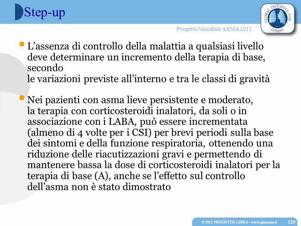 Progetto Mondiale ASMA 2011 Step-up Lassenza di controllo della malattia a qualsiasi livello deve determinare un incremento della terapia di base, sec