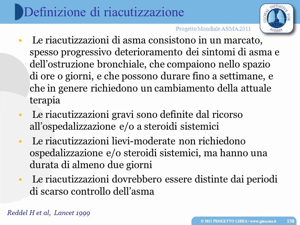 Progetto Mondiale ASMA 2011 Reddel H et al, Lancet 1999 Definizione di riacutizzazione Le riacutizzazioni di asma consistono in un marcato, spesso pro