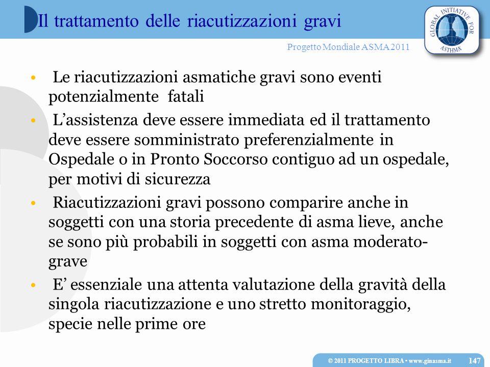Progetto Mondiale ASMA 2011 Le riacutizzazioni asmatiche gravi sono eventi potenzialmente fatali Lassistenza deve essere immediata ed il trattamento d