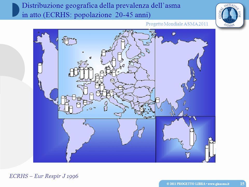 Progetto Mondiale ASMA 2011 ECRHS – Eur Respir J 1996 Distribuzione geografica della prevalenza dellasma in atto (ECRHS: popolazione 20-45 anni) 15 ©