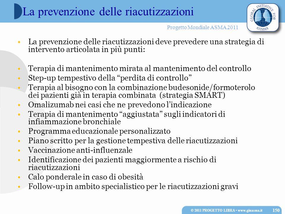 Progetto Mondiale ASMA 2011 La prevenzione delle riacutizzazioni La prevenzione delle riacutizzazioni deve prevedere una strategia di intervento artic