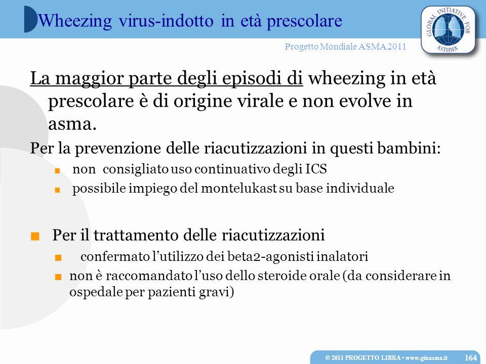 Progetto Mondiale ASMA 2011 La maggior parte degli episodi di wheezing in età prescolare è di origine virale e non evolve in asma. Per la prevenzione