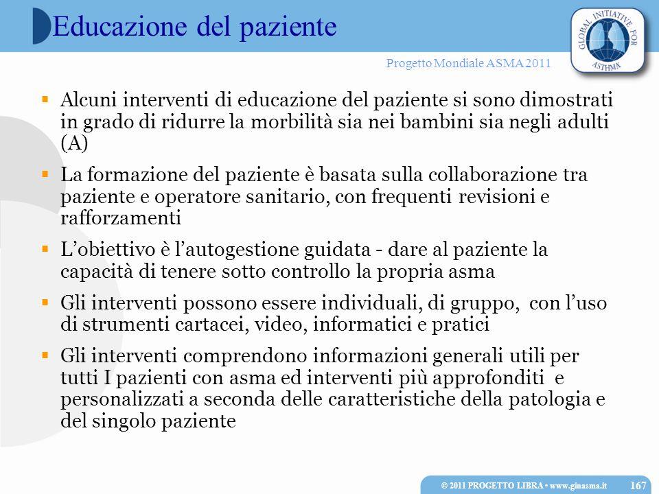 Progetto Mondiale ASMA 2011 Educazione del paziente Alcuni interventi di educazione del paziente si sono dimostrati in grado di ridurre la morbilità s
