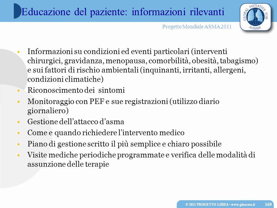 Progetto Mondiale ASMA 2011 Informazioni su condizioni ed eventi particolari (interventi chirurgici, gravidanza, menopausa, comorbilità, obesità, taba