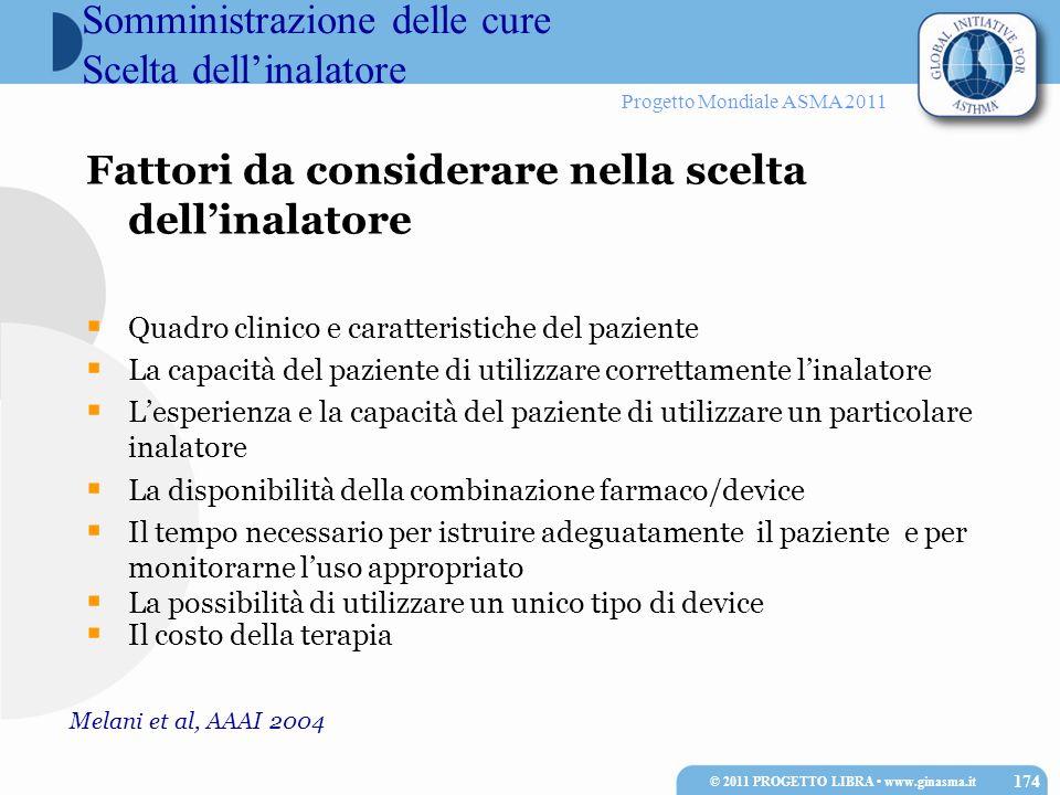 Progetto Mondiale ASMA 2011 Fattori da considerare nella scelta dellinalatore Quadro clinico e caratteristiche del paziente La capacità del paziente d